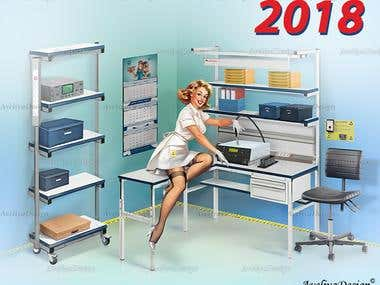 Pin-up Girl Illustration - Calendar