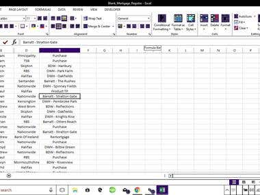 FINANCIAL EXCEL ENTRY
