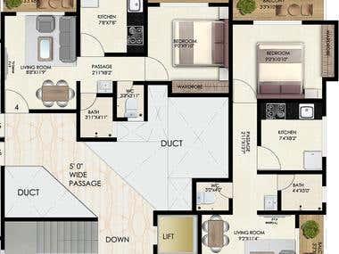 2D,3D floor plan