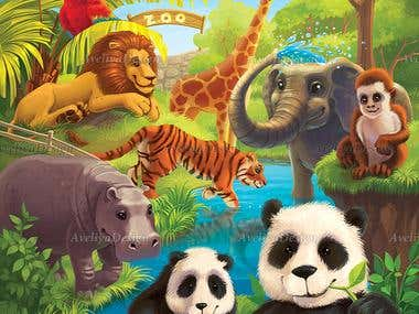 Jigsaw Puzzle Animal Illustration