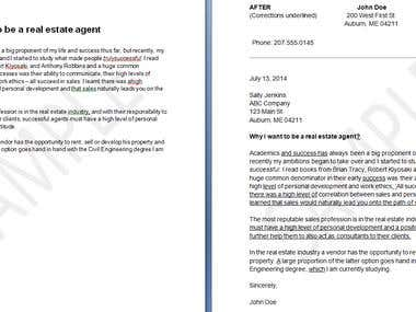 Before and After Demonstration of a Sample Cover letter