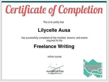 Freelance Writing Completion Certificate