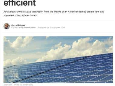 Article on Solar Panels (Graphene Electrode Prototype)