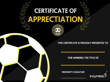 Certificate for Football Event