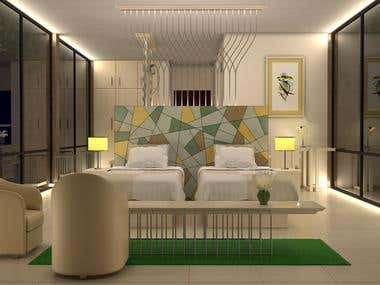 Hotel Bed Room 3D Rendering