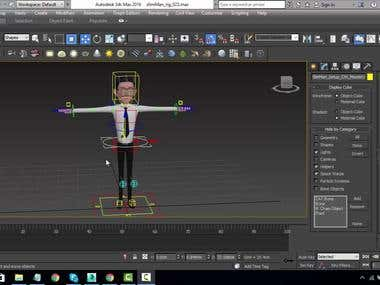 Character modeling with rigging..