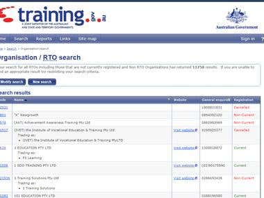 Save all items email from https://training.gov.au