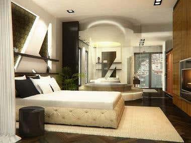 3D view of tourist resort apartment