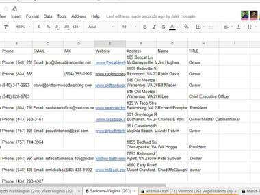 Data Entry in google spreadsheet