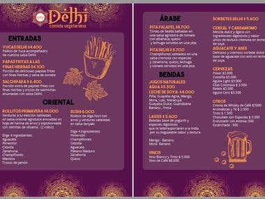 """Menú Design for """"Delhi"""" Veggie Restaurant"""