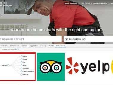 Web Scrapping (Yellopage, Yelp, Tripadvisor & othere site)