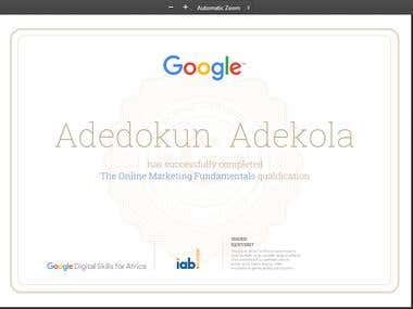 Google digital Analytics certificate