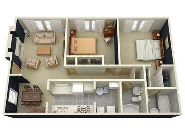 Floor Plan 3D Renders