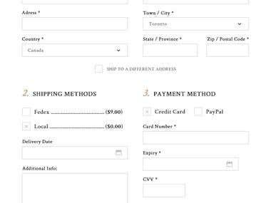 Checkout UI for online flower shop.