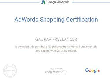Google Adwords Certified for shopping Ads
