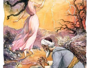 """Illustrations - Azerbaijani Fairytale """"Three sisters"""""""