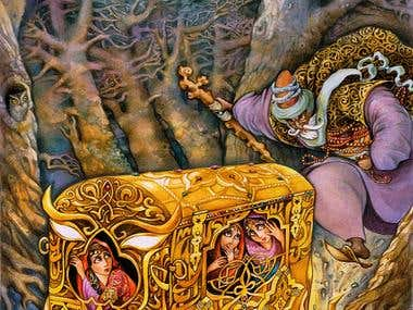 "Illustrations - Azerbaijani Fairytale ""Three sisters"""