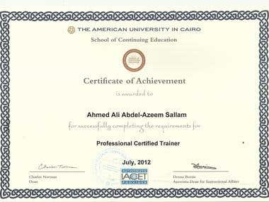 Professional Certified Trainer Certificate