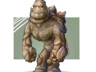 """""""Rock Monster"""" Character Card Art"""