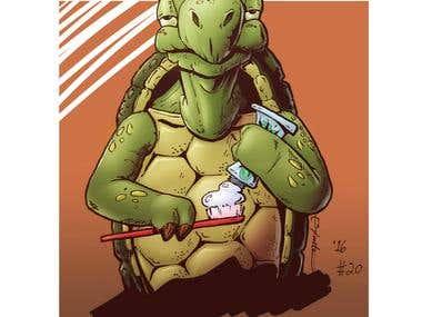 """""""Toothpaste Tortoise"""" Illustration"""