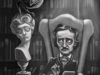 b/w illustration of Edgar Poe