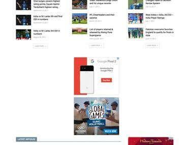 Cricket news magazine - Wordpress