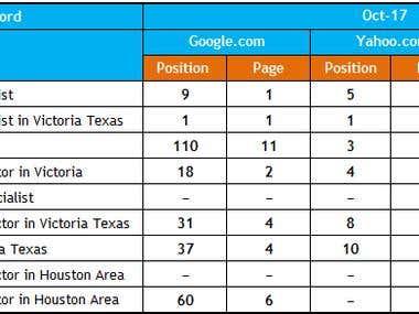 Keyword Ranking Report : (www.naturalwellnesstexas.com)