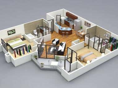 3D floor plan model design