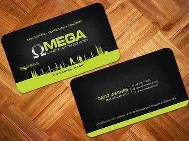 OMEGA CONSTRUCTION Business Card Design