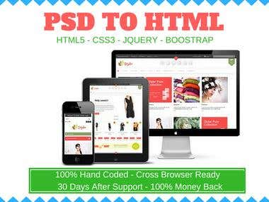 PSD To Responsive HTML5 Css3 Using Bootstrap 3