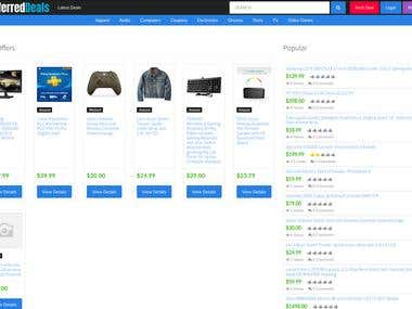 Deals / Product listing website in laravel