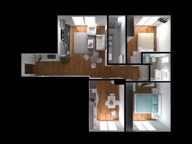 Floor Plans - 3D Model and Rendering