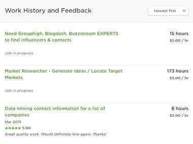 UpWork Work History and Feedback