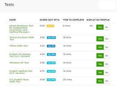 UpWork Test Results