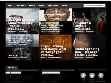 A wordpress site for a media platform news, music, videos