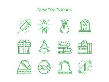 New Year's icons