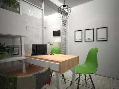 Diseño Interior y Render de Consultorio Ginecológico