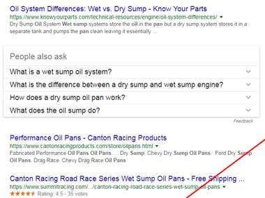 SEO for Wet sump oil pans