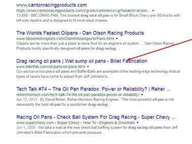 SEO for Drag racing oil pans