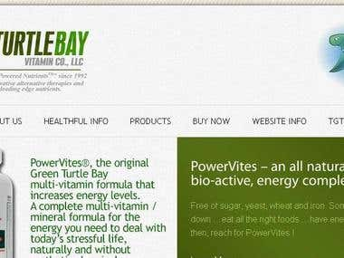 Website for The Green Turtle Bay Vitamin Company