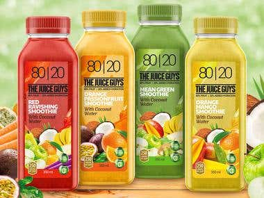 Labels design for Australian smoothies.