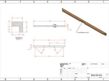 Technical drawings of wooden photo box