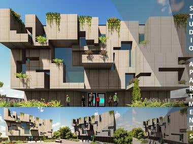 Studio Apartments 3d Modelling