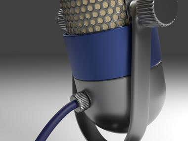 3D Rendering of Vintage Microphone