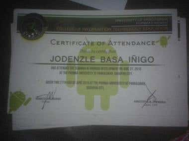 Certificate of attended seminars