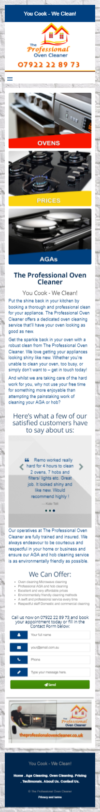The Professional oven cleaner mobile site
