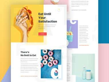 Food creative landing page design