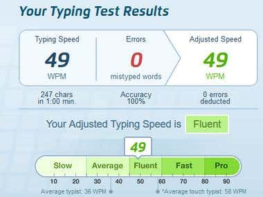My Speed Typing Test is 49 WPM