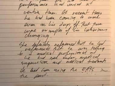 Handwritten typing