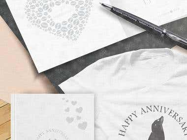 Material and logo from wedding anniversary